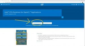 Инструкция по DaVinci Resolve 16: установка минимальных системных требований: Шаг 1 - скачать Intel® CPU Runtime for OpenCL™ Applications for Windows* OS