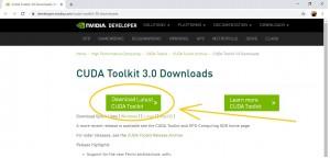 Инструкция по DaVinci Resolve 16: установка минимальных системных требований: Шаг 5 - скачать Cuda Toolkit 3.0 for Windows 10 x 86_64