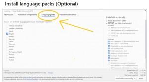 """Visual Studio 2019: я выбрала настройки в разделе """"language packs"""""""